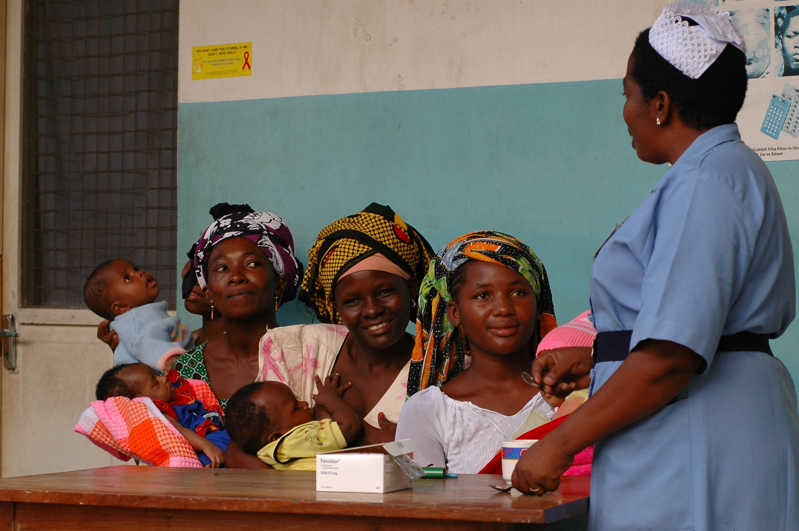 Mothers and children at health facility. Image courtesy of Dr Schellenberg
