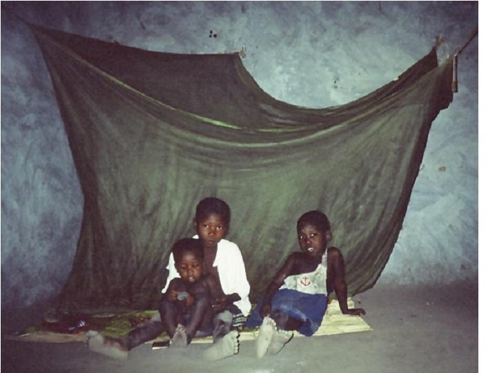 Children under bed net