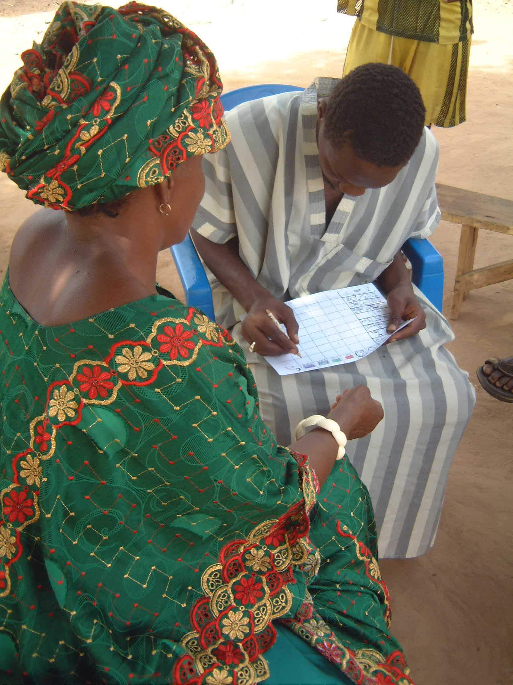 Gambian woman being interviewed