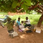 Filming an audiology test, Chikwawa, Malawi