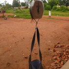 Baby weighing scales at clinic, Jinja District