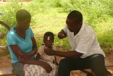 Child having audiology test, Chikwawa District
