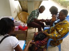 Research Assistants interviewing pregnant women on malaria and anaemia in pregancy